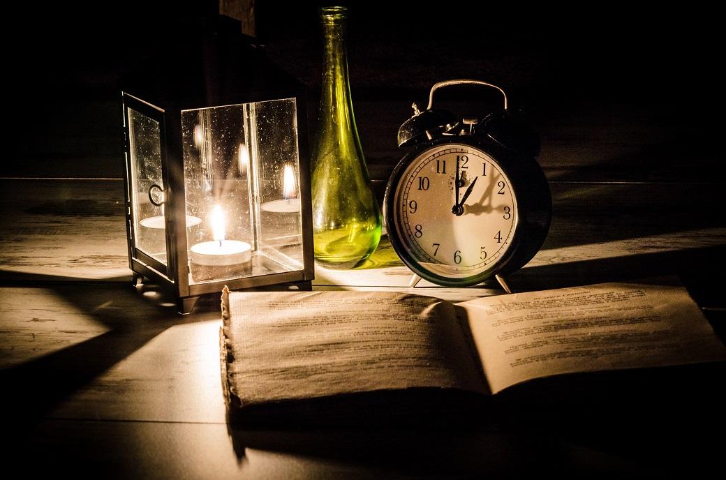 zegar butelka świeczka